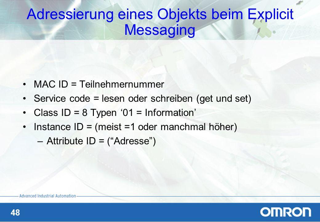 48 Adressierung eines Objekts beim Explicit Messaging MAC ID = Teilnehmernummer Service code = lesen oder schreiben (get und set) Class ID = 8 Typen 0