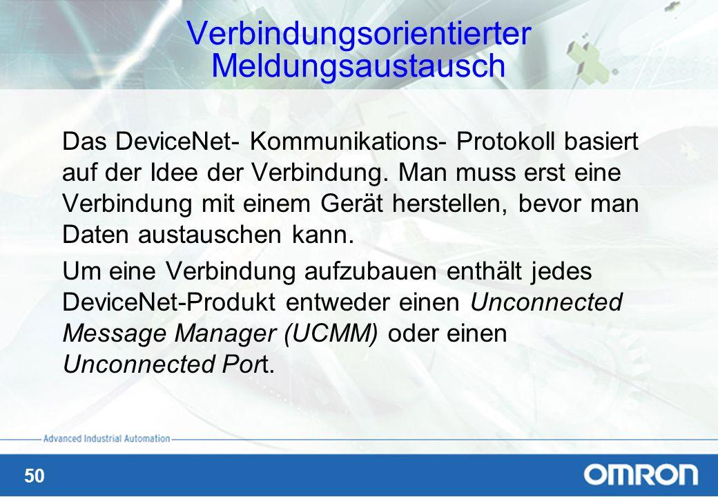 50 Verbindungsorientierter Meldungsaustausch Das DeviceNet- Kommunikations- Protokoll basiert auf der Idee der Verbindung. Man muss erst eine Verbindu
