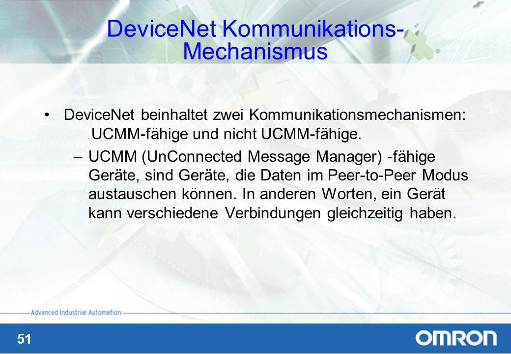51 DeviceNet Kommunikations- Mechanismus DeviceNet beinhaltet zwei Kommunikationsmechanismen: UCMM-fähige und nicht UCMM-fähige. –UCMM (UnConnected Me
