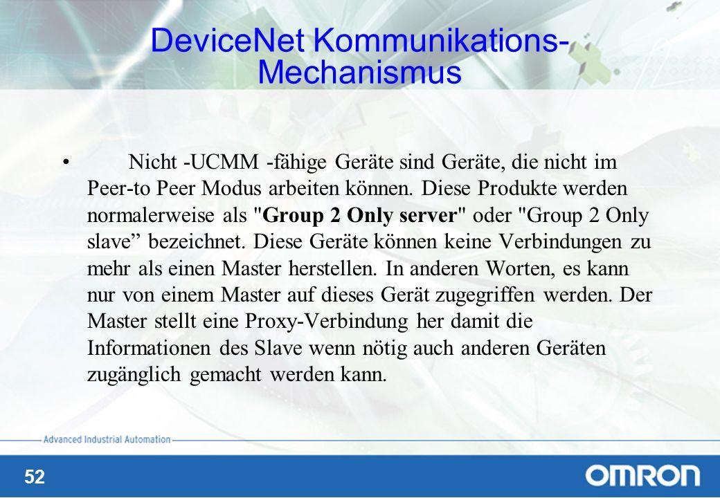 52 Nicht -UCMM -fähige Geräte sind Geräte, die nicht im Peer-to Peer Modus arbeiten können. Diese Produkte werden normalerweise als