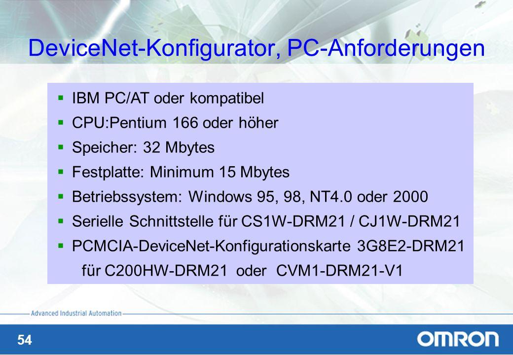 54 DeviceNet-Konfigurator, PC-Anforderungen IBM PC/AT oder kompatibel CPU:Pentium 166 oder höher Speicher: 32 Mbytes Festplatte: Minimum 15 Mbytes Bet