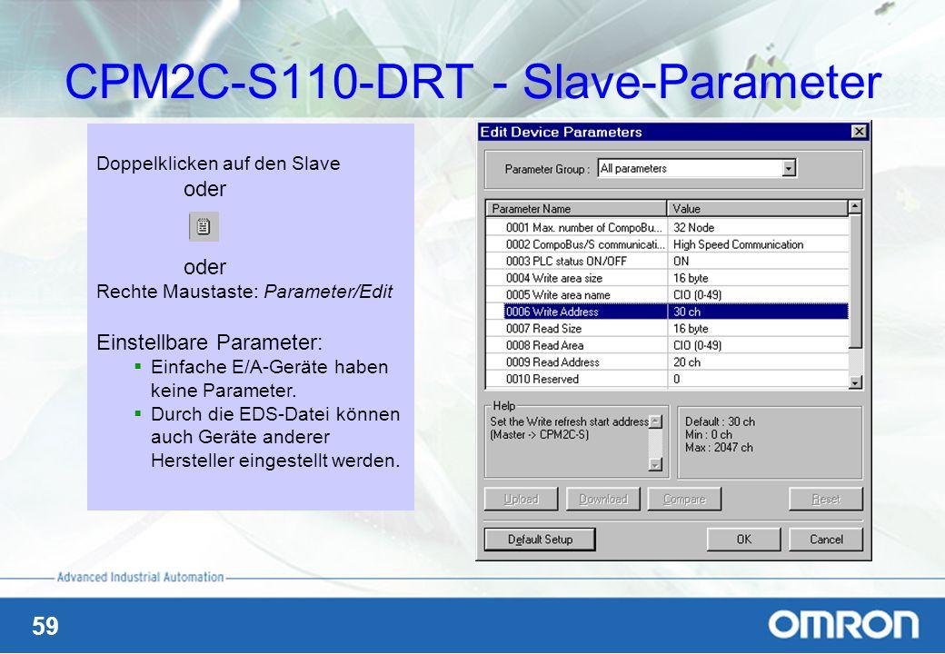 59 CPM2C-S110-DRT - Slave-Parameter Doppelklicken auf den Slave oder Rechte Maustaste: Parameter/Edit Einstellbare Parameter: Einfache E/A-Geräte habe