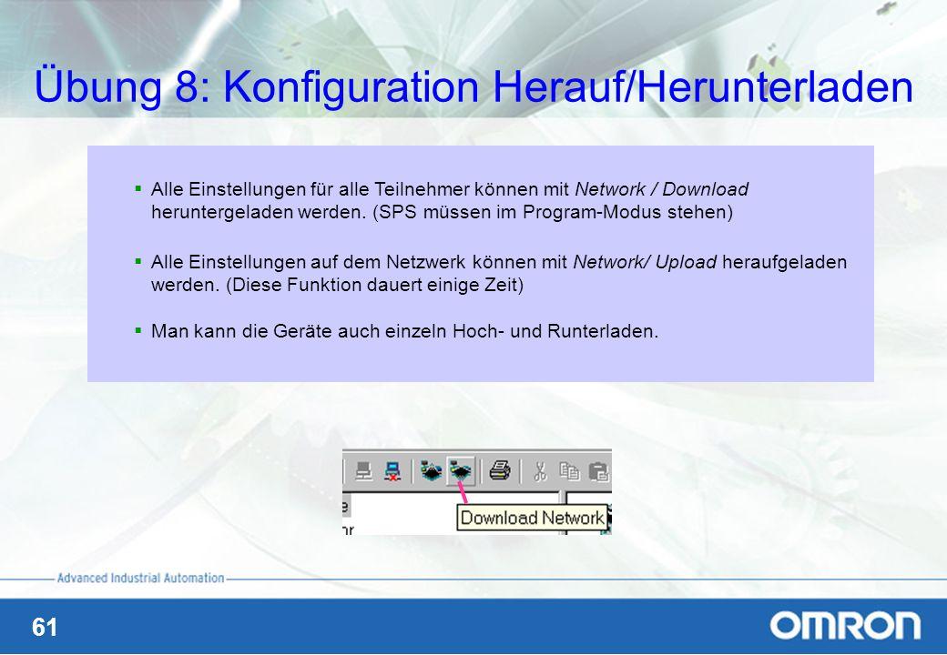 61 Übung 8: Konfiguration Herauf/Herunterladen Alle Einstellungen für alle Teilnehmer können mit Network / Download heruntergeladen werden. (SPS müsse