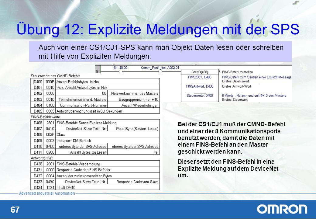67 Übung 12: Explizite Meldungen mit der SPS Auch von einer CS1/CJ1-SPS kann man Objekt-Daten lesen oder schreiben mit Hilfe von Expliziten Meldungen.