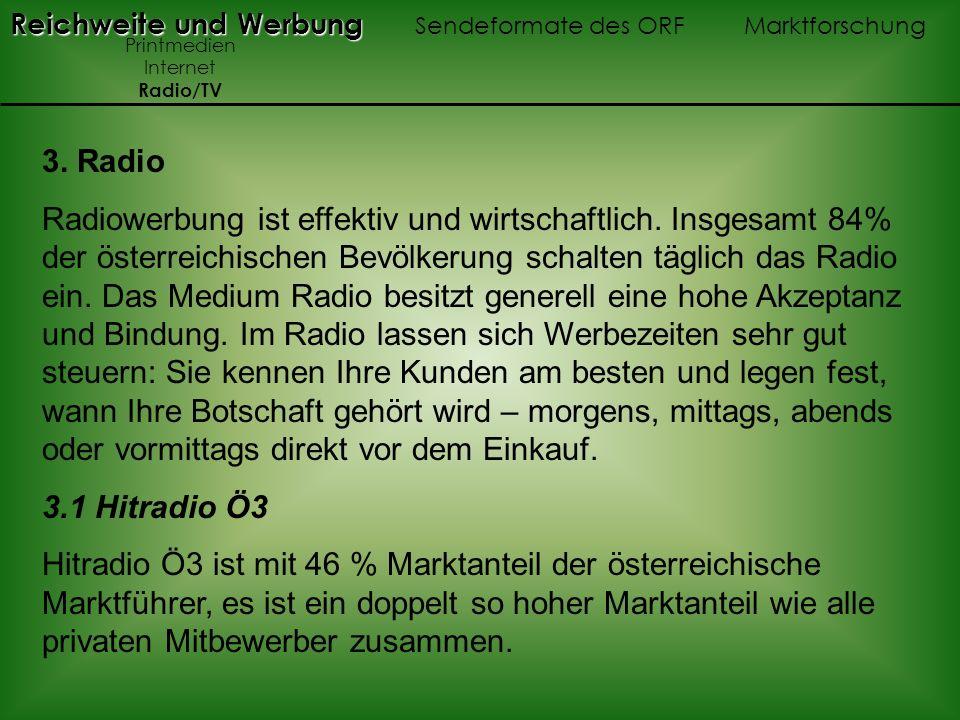 3. Radio Radiowerbung ist effektiv und wirtschaftlich. Insgesamt 84% der österreichischen Bevölkerung schalten täglich das Radio ein. Das Medium Radio