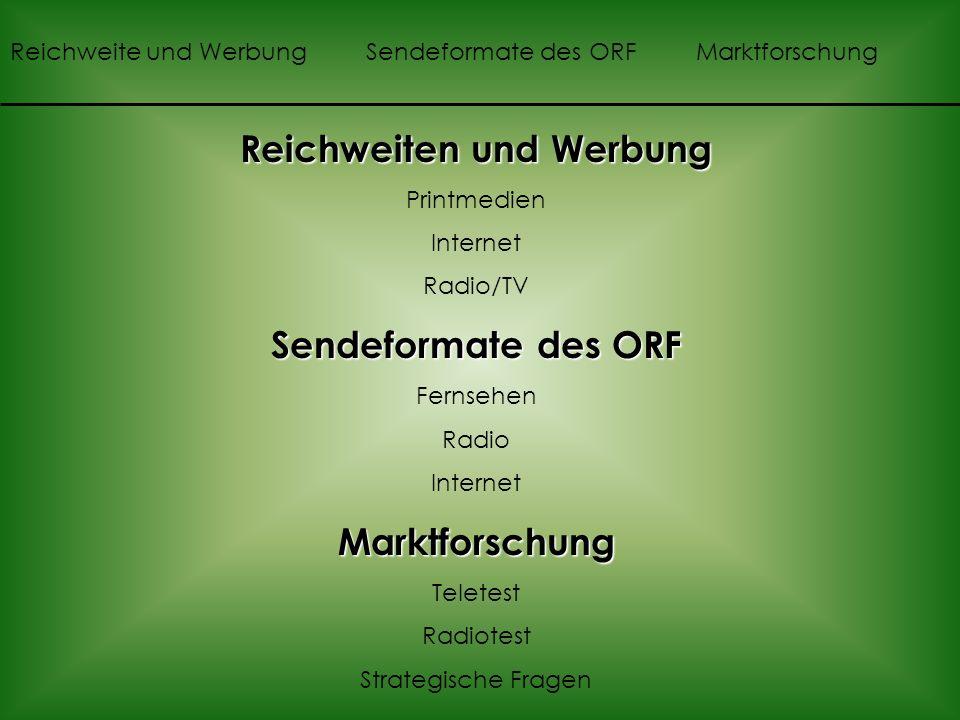 Reichweiten und Werbung Printmedien Internet Radio/TV Sendeformate des ORF Fernsehen Radio InternetMarktforschung Teletest Radiotest Strategische Fragen Reichweite und Werbung Sendeformate des ORF Marktforschung