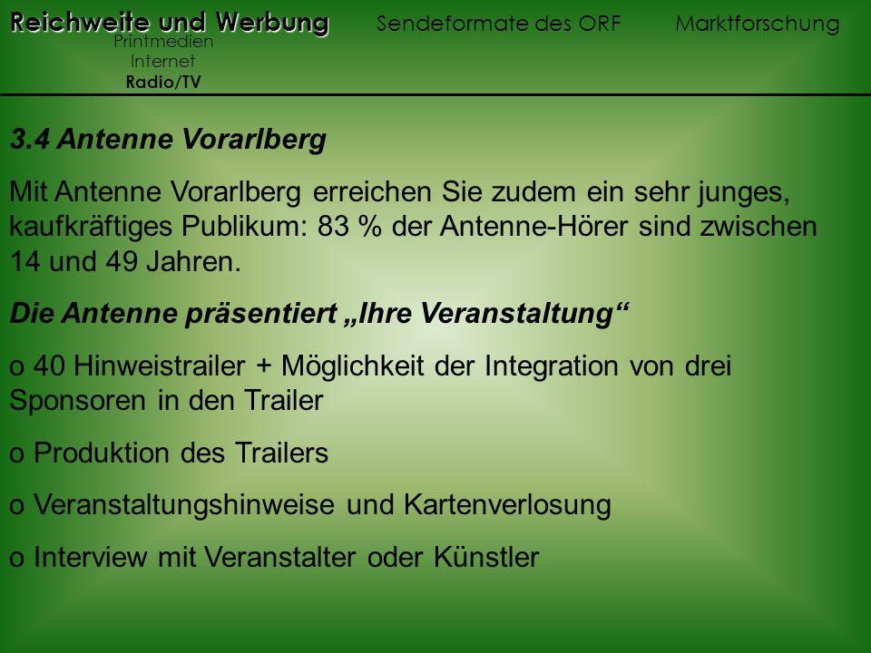 3.4 Antenne Vorarlberg Mit Antenne Vorarlberg erreichen Sie zudem ein sehr junges, kaufkräftiges Publikum: 83 % der Antenne-Hörer sind zwischen 14 und 49 Jahren.