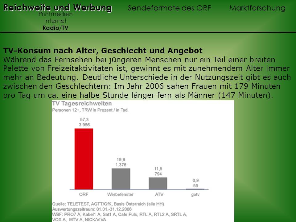 Reichweite und Werbung Reichweite und Werbung Sendeformate des ORF Marktforschung Printmedien Internet Radio/TV TV-Konsum nach Alter, Geschlecht und A