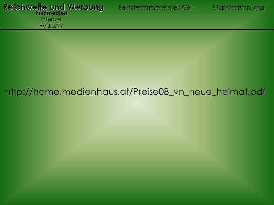 Reichweite und Werbung Reichweite und Werbung Sendeformate des ORF Marktforschung Printmedien Internet Radio/TV http://home.medienhaus.at/Preise08_vn_neue_heimat.pdf