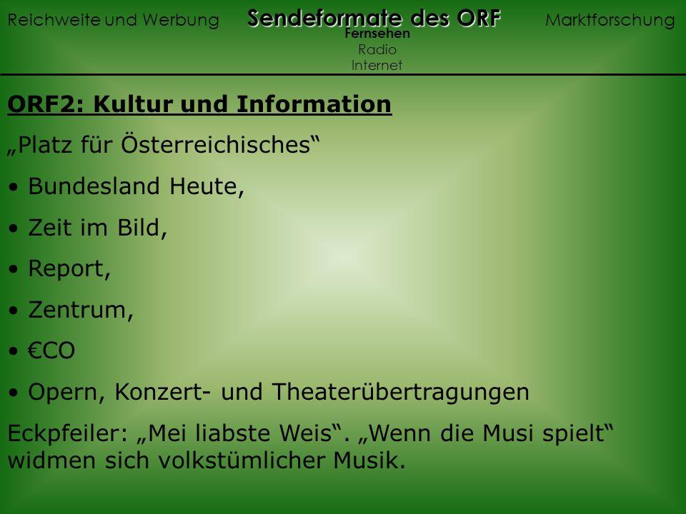 ORF2: Kultur und Information Platz für Österreichisches Bundesland Heute, Zeit im Bild, Report, Zentrum, CO Opern, Konzert- und Theaterübertragungen Eckpfeiler: Mei liabste Weis.