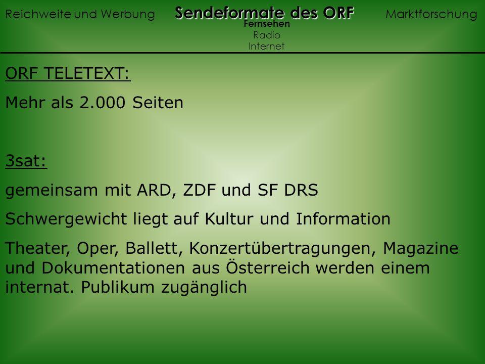 ORF TELETEXT: Mehr als 2.000 Seiten 3sat: gemeinsam mit ARD, ZDF und SF DRS Schwergewicht liegt auf Kultur und Information Theater, Oper, Ballett, Konzertübertragungen, Magazine und Dokumentationen aus Österreich werden einem internat.