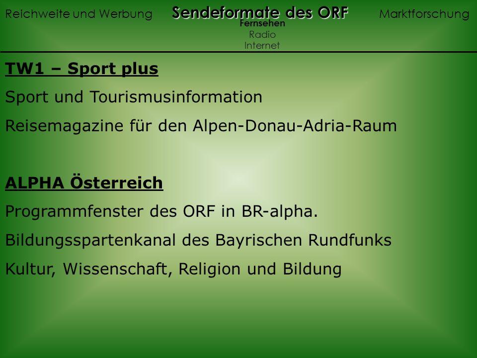 TW1 – Sport plus Sport und Tourismusinformation Reisemagazine für den Alpen-Donau-Adria-Raum ALPHA Österreich Programmfenster des ORF in BR-alpha.