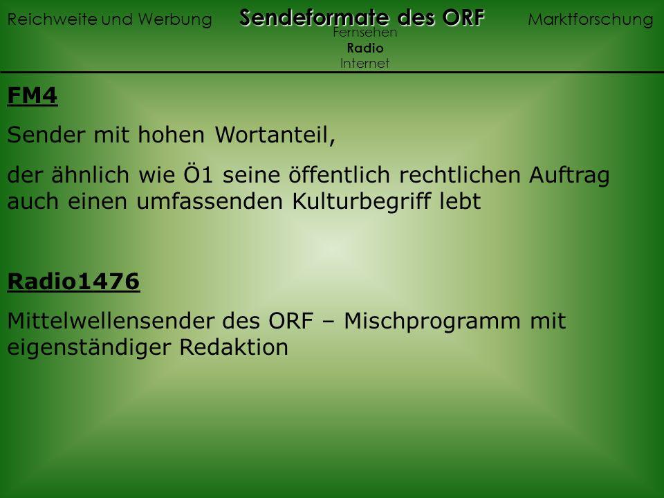 FM4 Sender mit hohen Wortanteil, der ähnlich wie Ö1 seine öffentlich rechtlichen Auftrag auch einen umfassenden Kulturbegriff lebt Radio1476 Mittelwellensender des ORF – Mischprogramm mit eigenständiger Redaktion Sendeformate des ORF Reichweite und Werbung Sendeformate des ORF Marktforschung Fernsehen Radio Internet