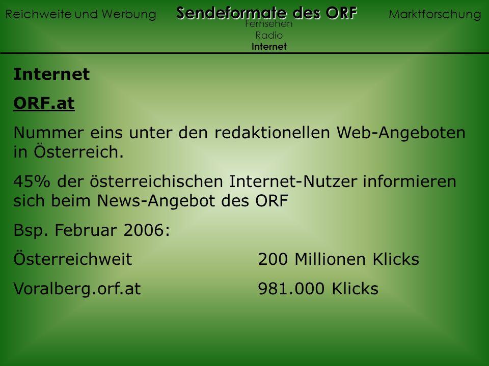 ORF.at Nummer eins unter den redaktionellen Web-Angeboten in Österreich. 45% der österreichischen Internet-Nutzer informieren sich beim News-Angebot d