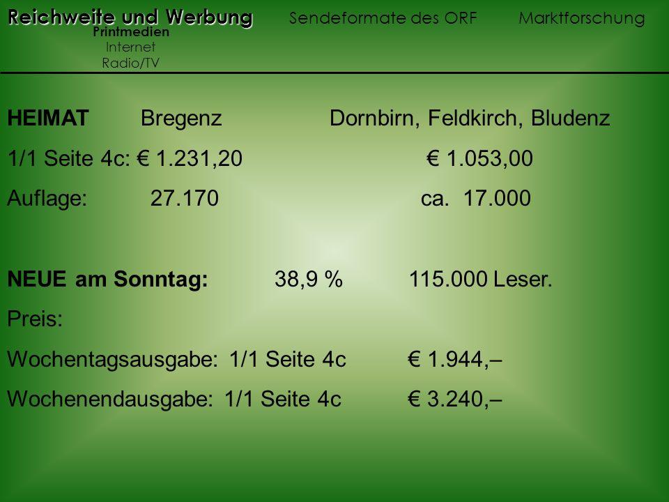 HEIMAT Bregenz Dornbirn, Feldkirch, Bludenz 1/1 Seite 4c: 1.231,20 1.053,00 Auflage: 27.170 ca. 17.000 NEUE am Sonntag: 38,9 % 115.000 Leser. Preis: W