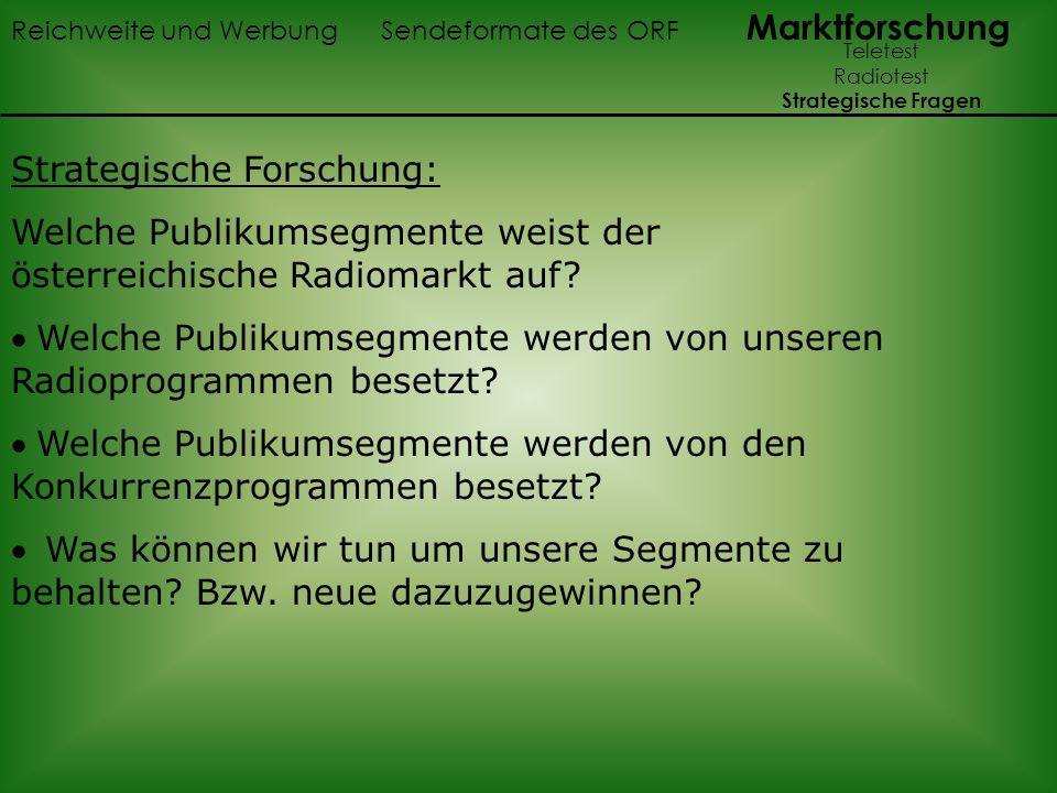 Strategische Forschung: Welche Publikumsegmente weist der österreichische Radiomarkt auf? Welche Publikumsegmente werden von unseren Radioprogrammen b