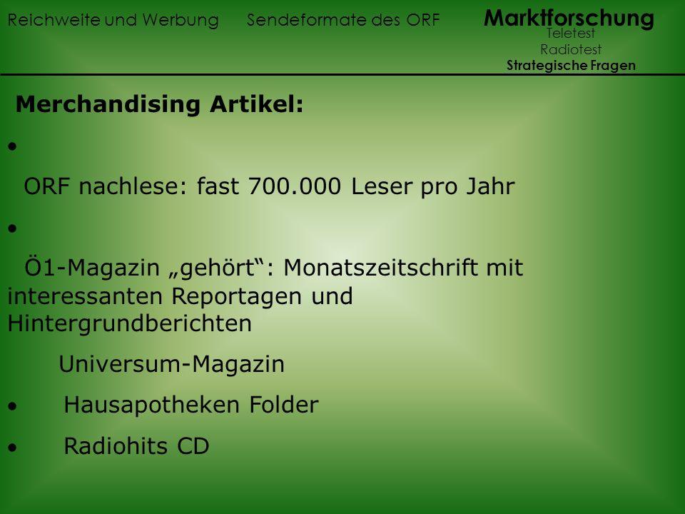 Merchandising Artikel: ORF nachlese: fast 700.000 Leser pro Jahr Ö1-Magazin gehört: Monatszeitschrift mit interessanten Reportagen und Hintergrundberi