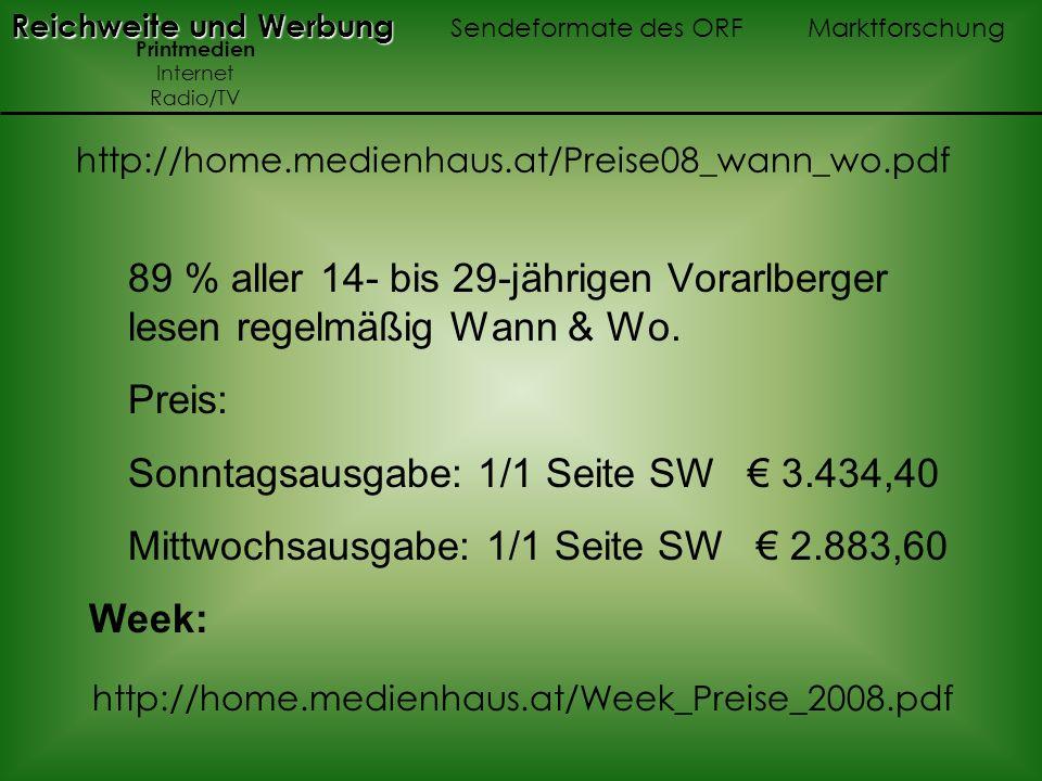 89 % aller 14- bis 29-jährigen Vorarlberger lesen regelmäßig Wann & Wo. Preis: Sonntagsausgabe: 1/1 Seite SW 3.434,40 Mittwochsausgabe: 1/1 Seite SW 2