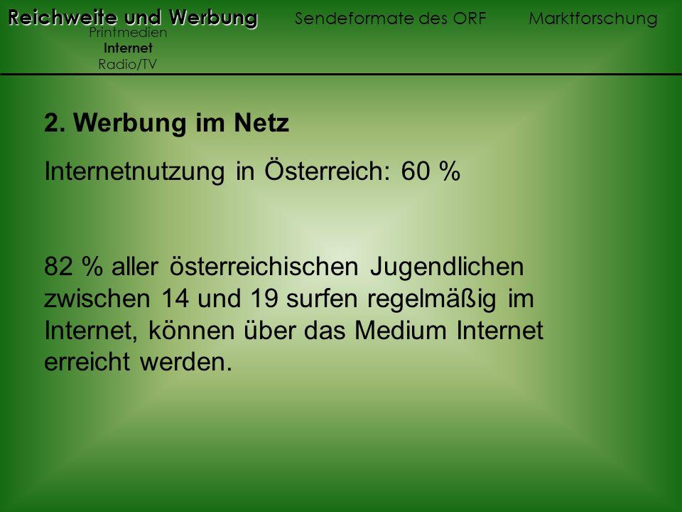 2. Werbung im Netz Internetnutzung in Österreich: 60 % 82 % aller österreichischen Jugendlichen zwischen 14 und 19 surfen regelmäßig im Internet, könn