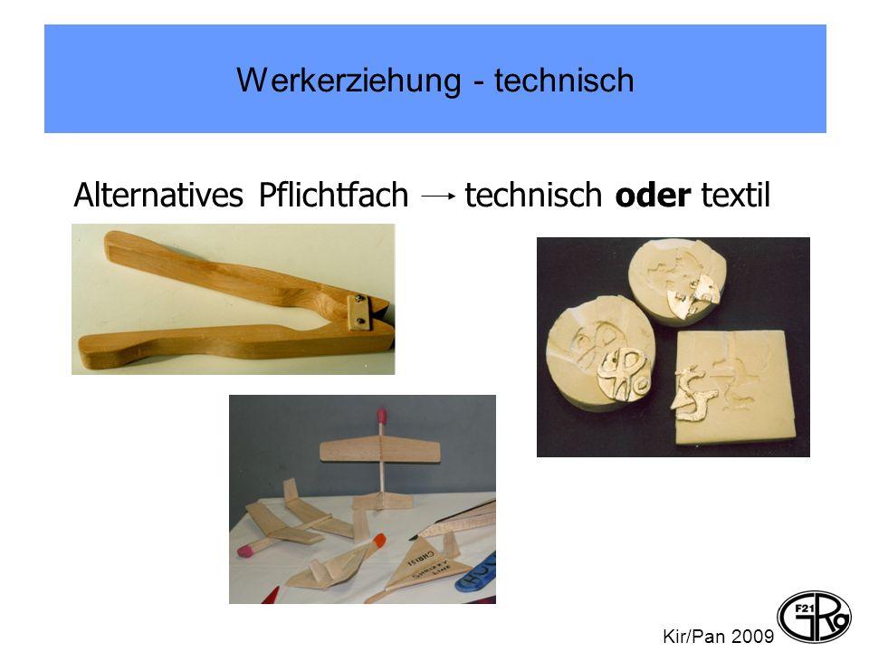 Werkerziehung - technisch Alternatives Pflichtfach technisch oder textil Kir/Pan 2009