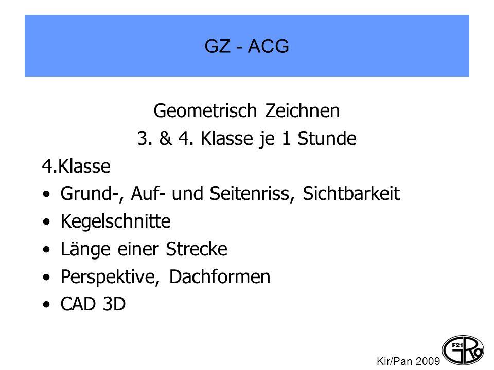 GZ - ACG Geometrisch Zeichnen 3. & 4. Klasse je 1 Stunde 4.Klasse Grund-, Auf- und Seitenriss, Sichtbarkeit Kegelschnitte Länge einer Strecke Perspekt