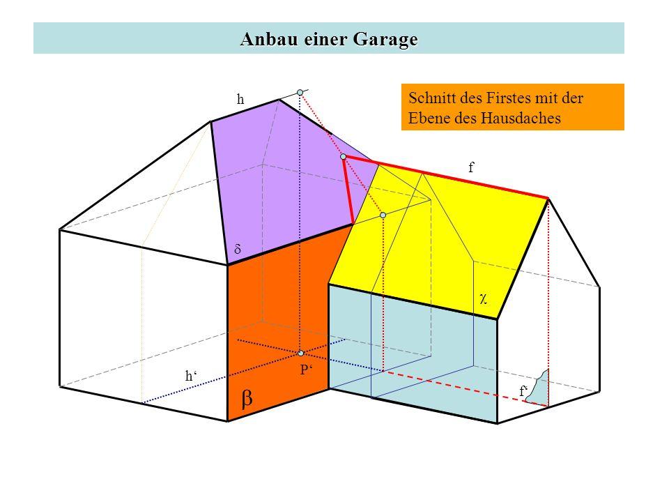 Anbau einer Garage Schnitt des Firstes mit der Ebene des Hausdaches f f h h P