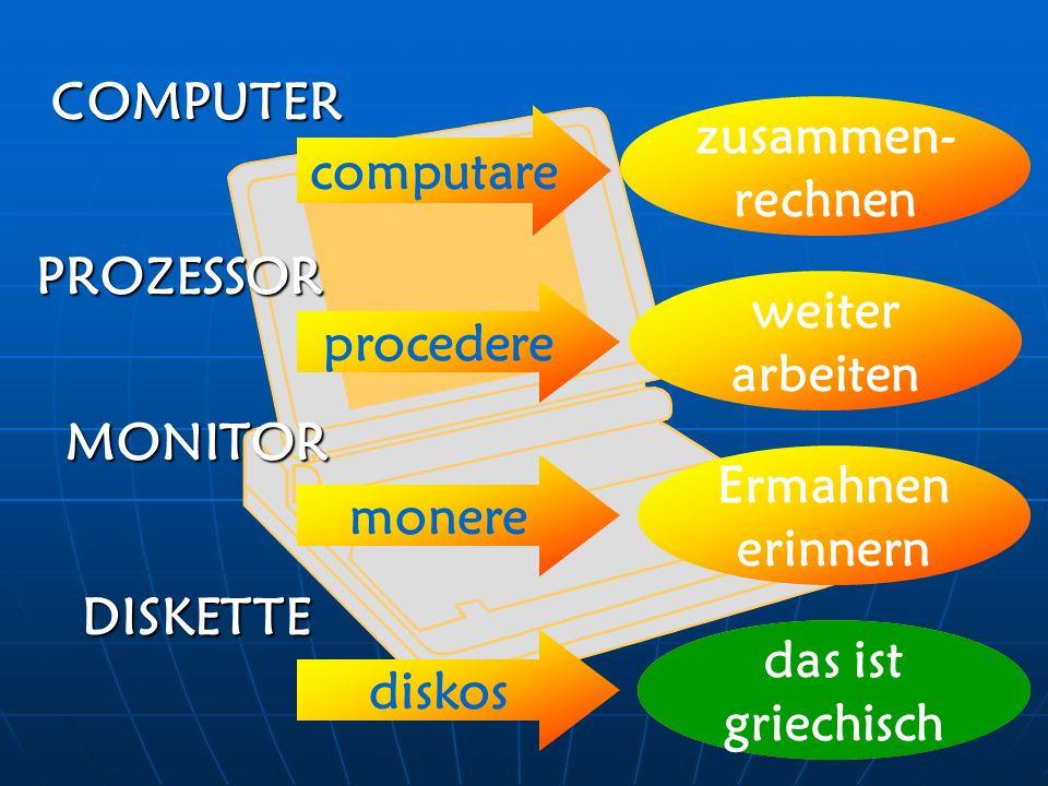 COMPUTER computare zusammen- rechnen procedere weiter arbeiten PROZESSOR MONITOR monere Ermahnen erinnern DISKETTE diskos Scheibe, Diskus das ist grie