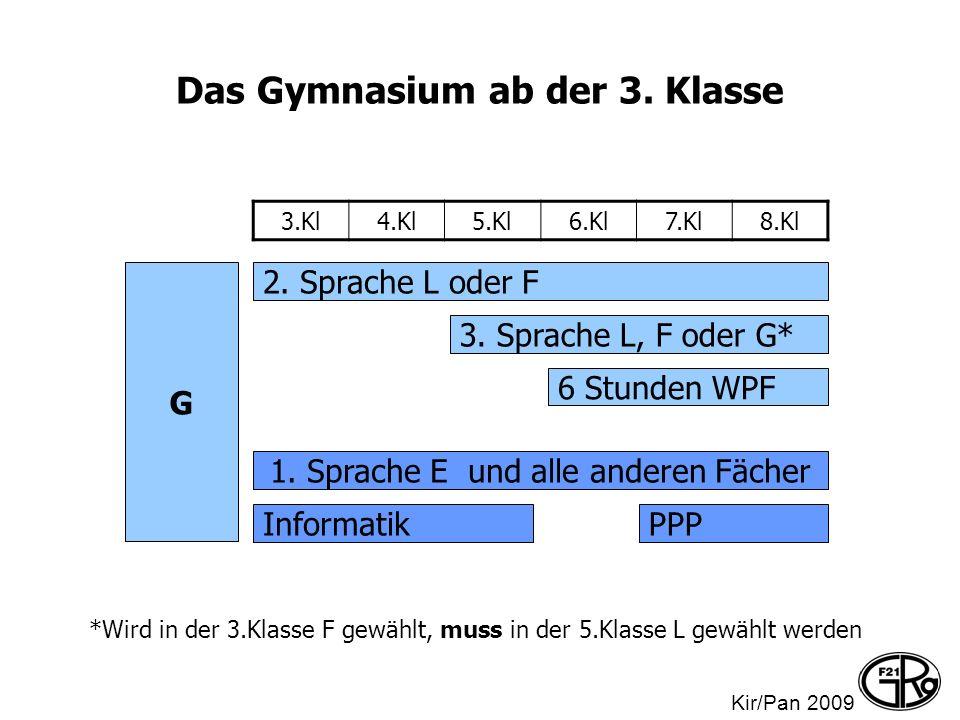 Das Gymnasium ab der 3. Klasse G 2. Sprache L oder F 3. Sprache L, F oder G* 1. Sprache E und alle anderen Fächer InformatikPPP 6 Stunden WPF 3.Kl4.Kl