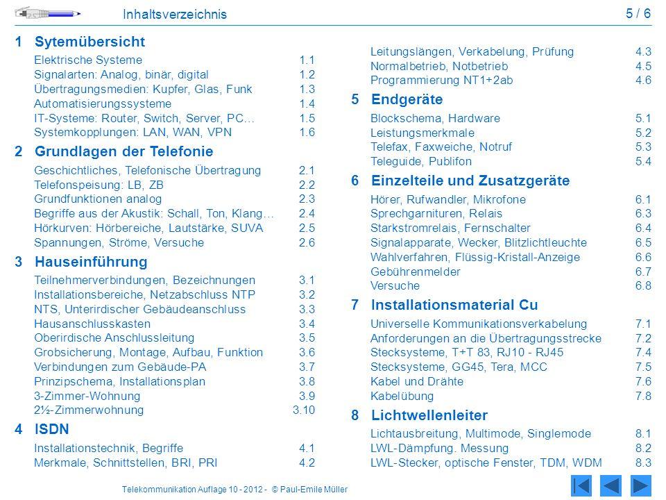 Telekommunikation Auflage 10 - 2012 - © Paul-Emile Müller 5 / 6 Inhaltsverzeichnis 1Sytemübersicht Elektrische Systeme1.1 Signalarten: Analog, binär,
