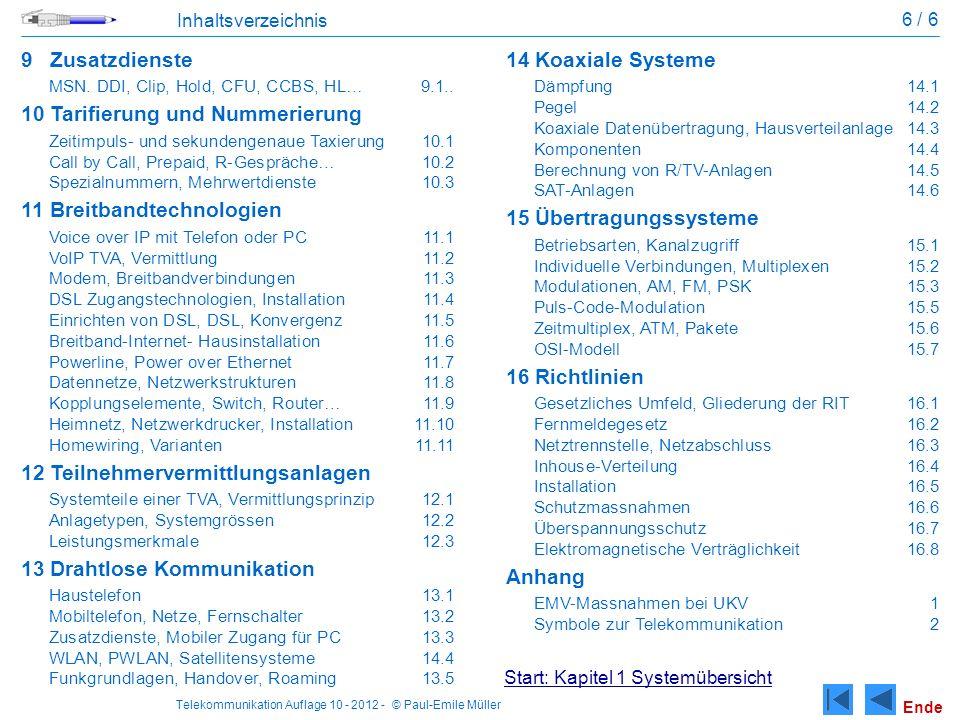 Telekommunikation Auflage 10 - 2012 - © Paul-Emile Müller 6 / 6 Inhaltsverzeichnis 9Zusatzdienste MSN. DDI, Clip, Hold, CFU, CCBS, HL…9.1.. 10Tarifier