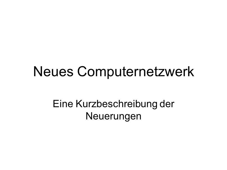 Neues Computernetzwerk Eine Kurzbeschreibung der Neuerungen
