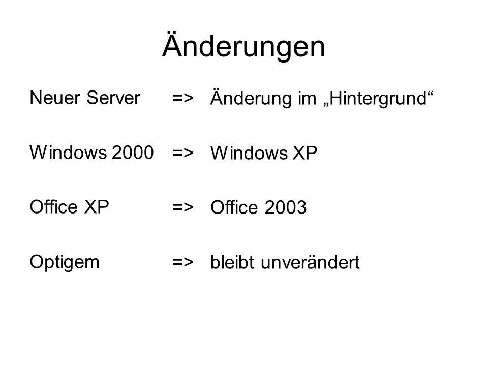 Änderungen Neuer Server Windows 2000 Office XP Optigem => Änderung im Hintergrund => Windows XP => Office 2003 => bleibt unverändert