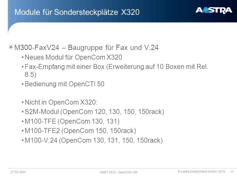 © Aastra Deutschland GmbH - 2012 11 Module für Sondersteckplätze X320 M300-FaxV24 – Baugruppe für Fax und V.24 Neues Modul für OpenCom X320 Fax-Empfan