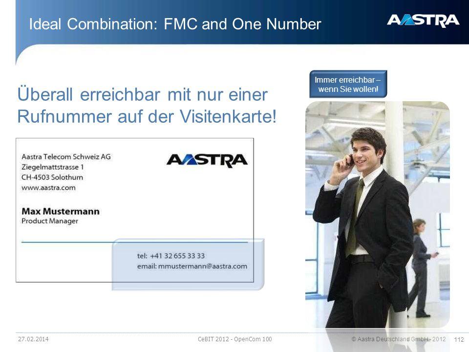 © Aastra Deutschland GmbH - 2012 112 Ideal Combination: FMC and One Number 27.02.2014 CeBIT 2012 - OpenCom 100 Überall erreichbar mit nur einer Rufnum