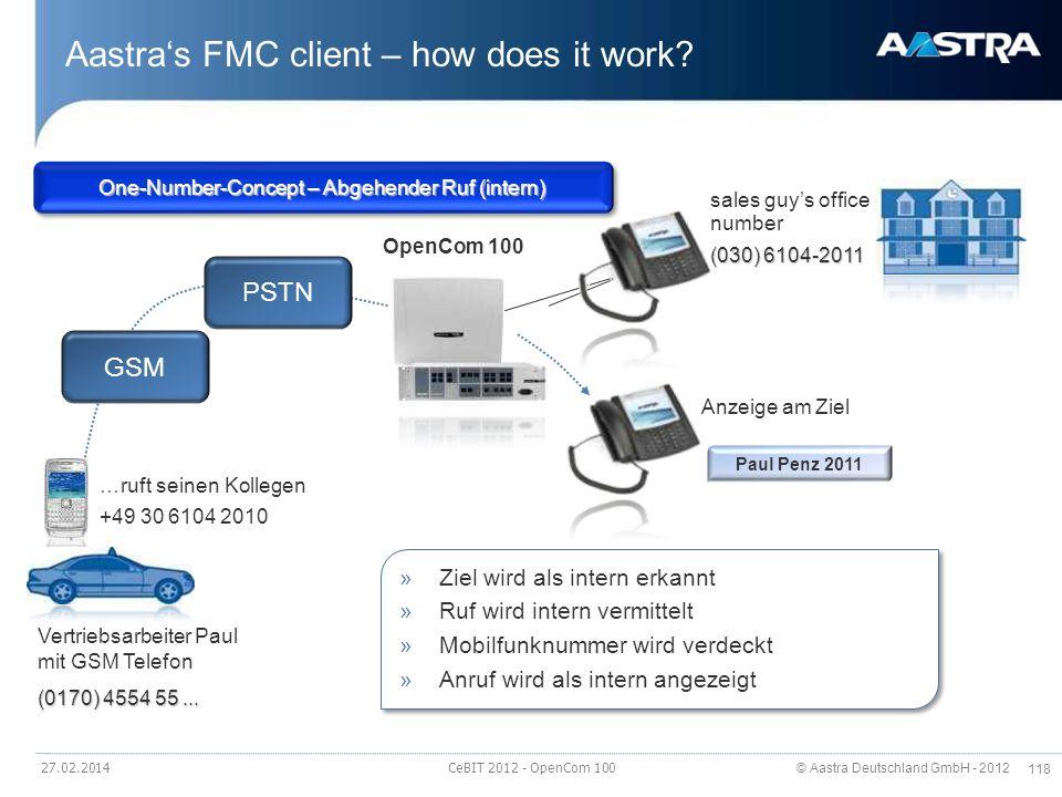 © Aastra Deutschland GmbH - 2012 118 Aastras FMC client – how does it work? 27.02.2014 CeBIT 2012 - OpenCom 100 Vertriebsarbeiter Paul mit GSM Telefon