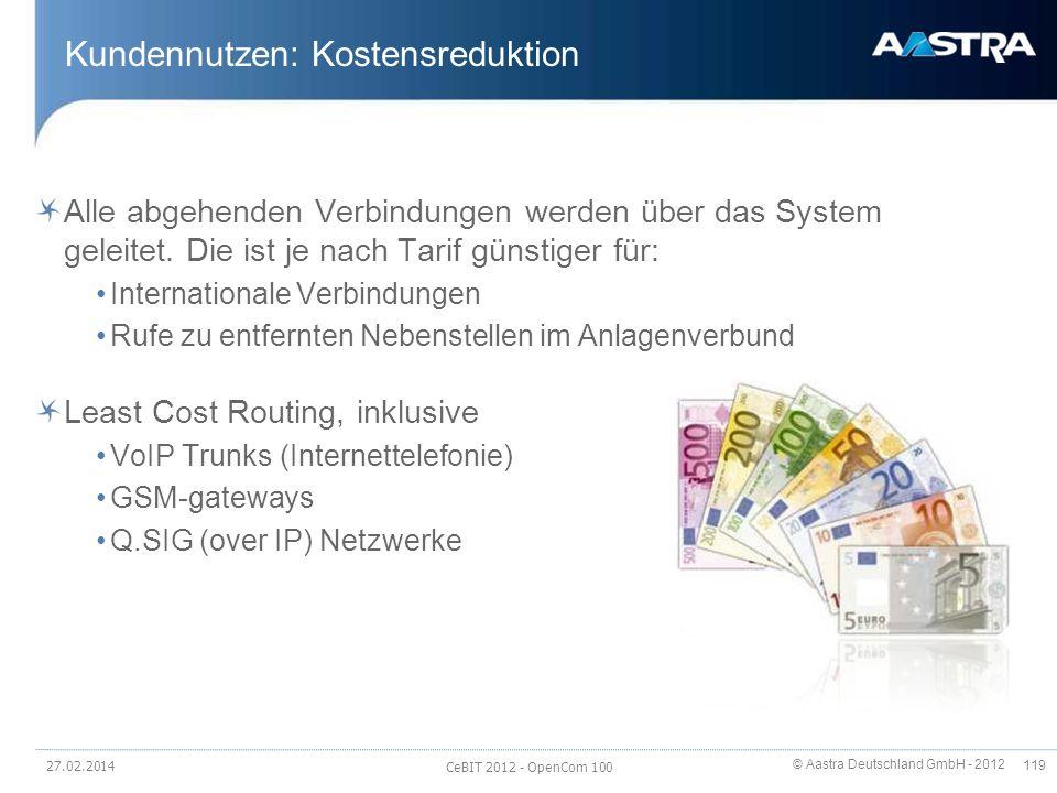 © Aastra Deutschland GmbH - 2012 119 Kundennutzen: Kostensreduktion Alle abgehenden Verbindungen werden über das System geleitet. Die ist je nach Tari