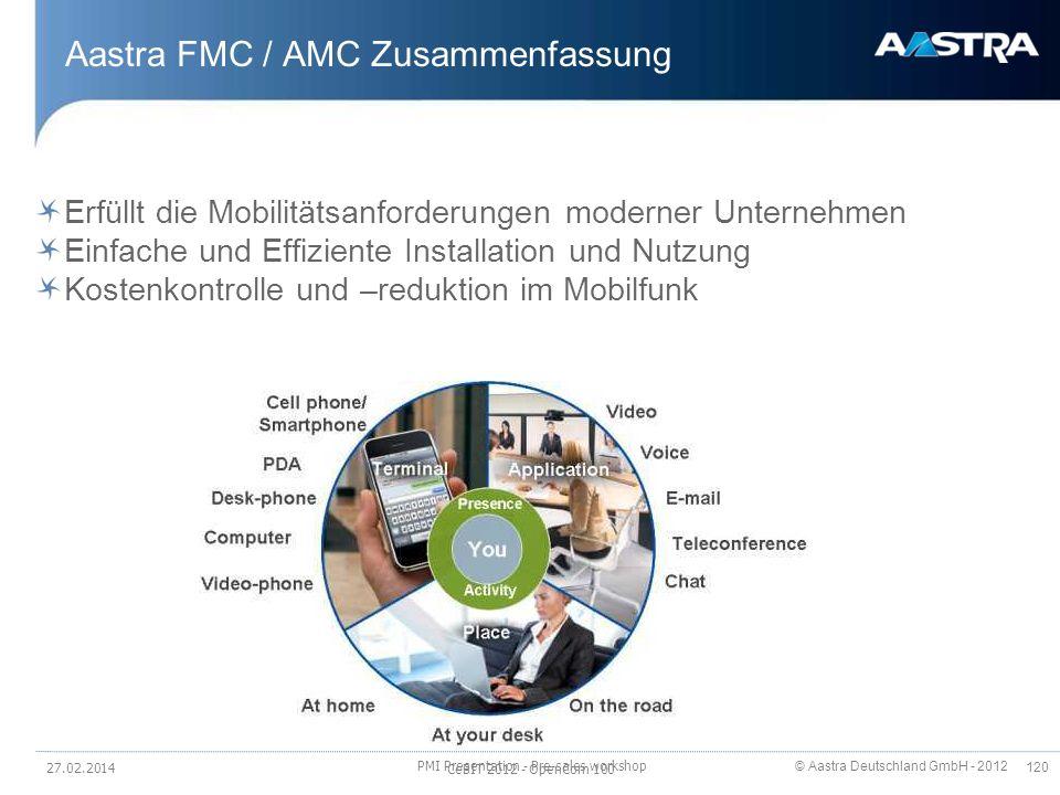© Aastra Deutschland GmbH - 2012 120 Aastra FMC / AMC Zusammenfassung Erfüllt die Mobilitätsanforderungen moderner Unternehmen Einfache und Effiziente