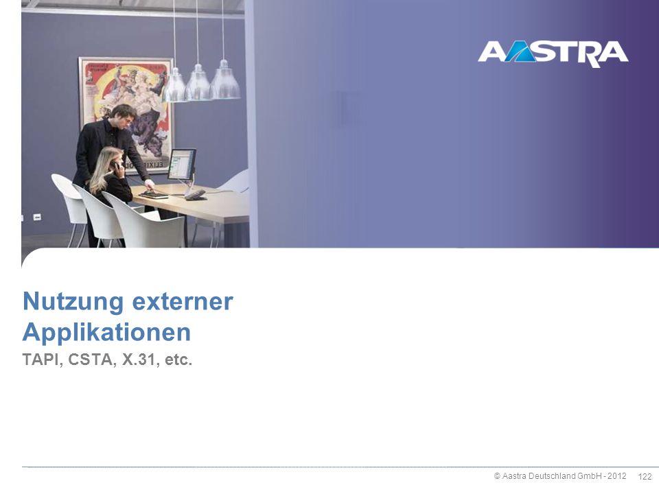 © Aastra Deutschland GmbH - 2012 122 TAPI, CSTA, X.31, etc. Nutzung externer Applikationen
