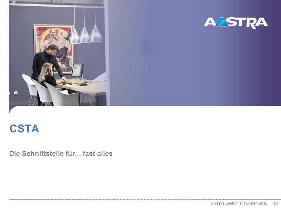 © Aastra Deutschland GmbH - 2012 124 Die Schnittstelle für... fast alles CSTA