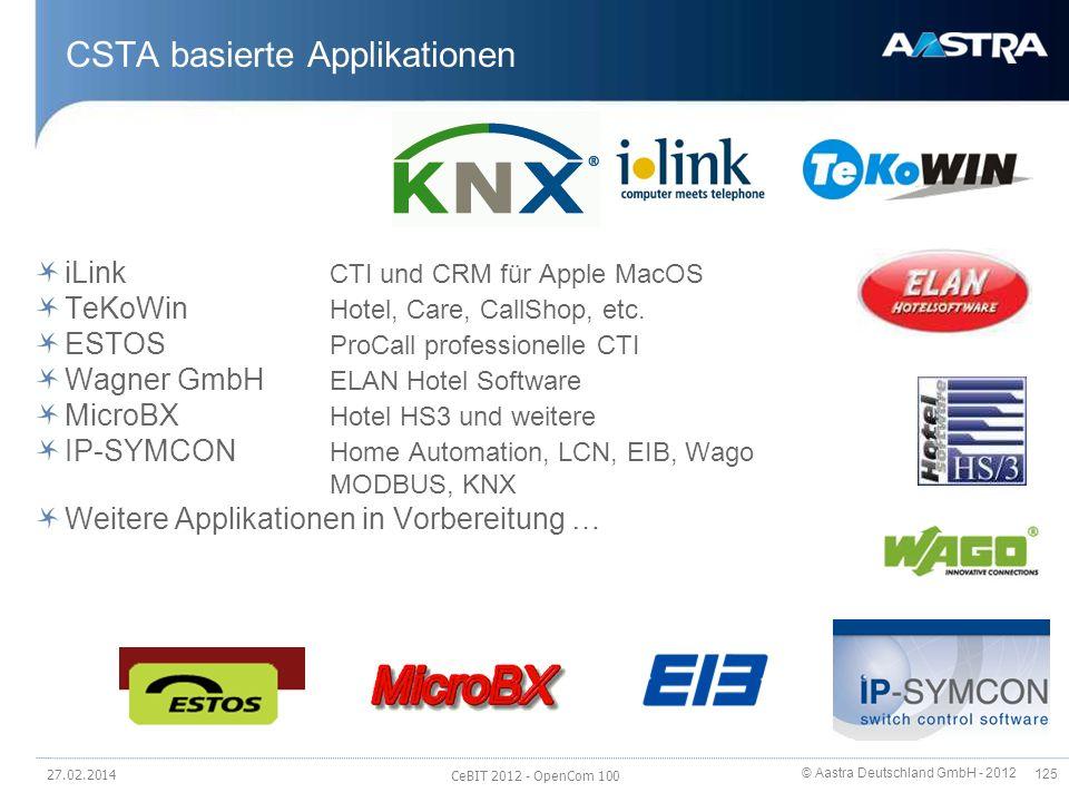 © Aastra Deutschland GmbH - 2012 125 CSTA basierte Applikationen iLink CTI und CRM für Apple MacOS TeKoWin Hotel, Care, CallShop, etc. ESTOS ProCall p