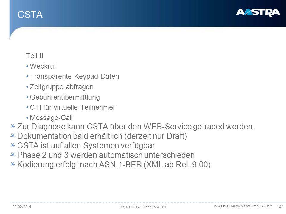 © Aastra Deutschland GmbH - 2012 127 CSTA Teil II Weckruf Transparente Keypad-Daten Zeitgruppe abfragen Gebührenübermittlung CTI für virtuelle Teilneh