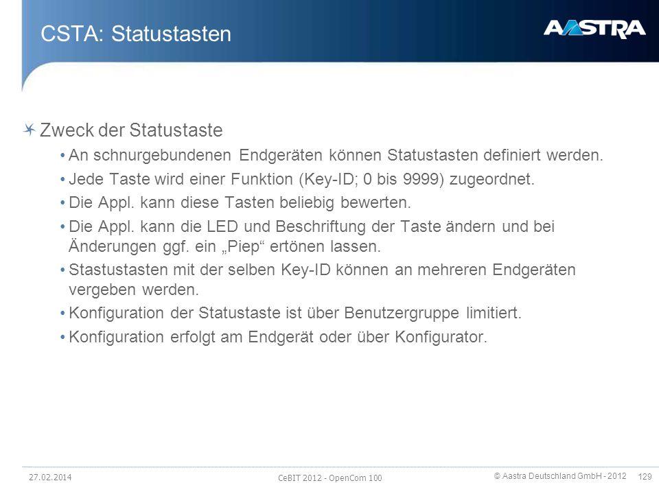 © Aastra Deutschland GmbH - 2012 129 CSTA: Statustasten Zweck der Statustaste An schnurgebundenen Endgeräten können Statustasten definiert werden. Jed