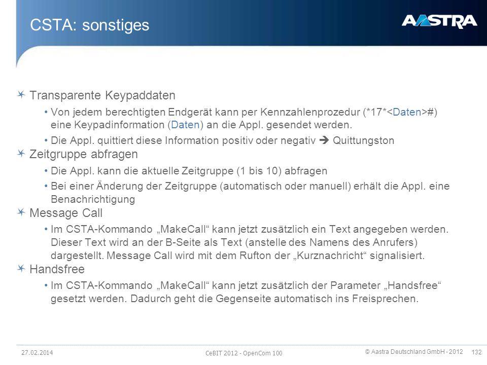 © Aastra Deutschland GmbH - 2012 132 CSTA: sonstiges Transparente Keypaddaten Von jedem berechtigten Endgerät kann per Kennzahlenprozedur (*17* #) ein
