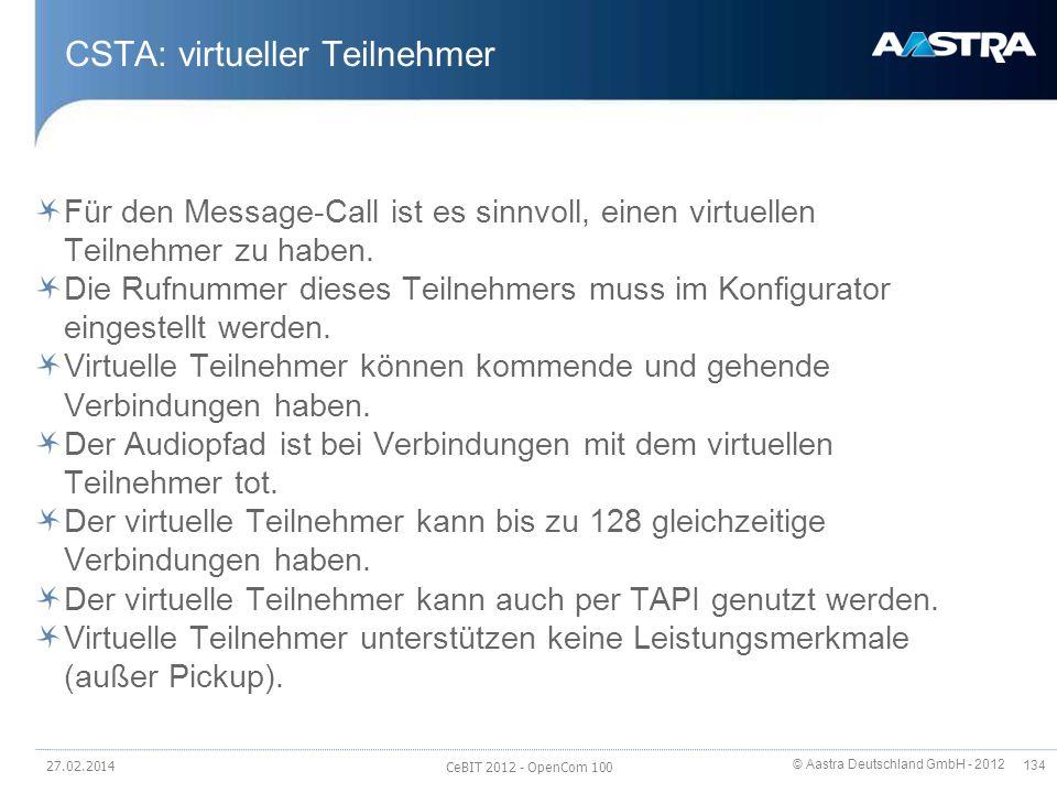 © Aastra Deutschland GmbH - 2012 134 CSTA: virtueller Teilnehmer Für den Message-Call ist es sinnvoll, einen virtuellen Teilnehmer zu haben. Die Rufnu