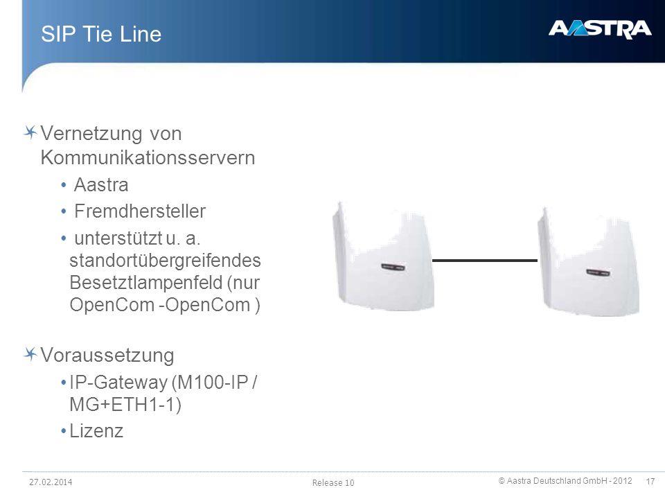 © Aastra Deutschland GmbH - 2012 17 SIP Tie Line Vernetzung von Kommunikationsservern Aastra Fremdhersteller unterstützt u. a. standortübergreifendes