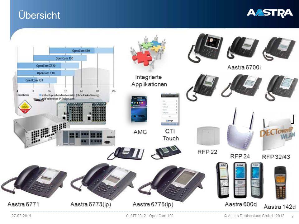 © Aastra Deutschland GmbH - 2012 83 Geräteübersicht IP-Endgeräte 27.02.2014 CeBIT 2012 - OpenCom 100 Aastra 6730i Aastra 6731i Aastra 6751i Aastra 6753i Aastra 6755i Aastra 6757i Aastra 6735i Aastra 6737i Aastra 6739i Aastra M670 Aastra M675 Aastra 6773ip Aastra 6775ip Aastra M671 Aastra M676 Protokoll SIP --Stimulus -- Audio Codecs G.711/G.722/G.729 / / -- -- Interface 10/100 10/100/ 1000 10/100/ 1000 10/100/ 1000 --10/100 -- Stromversorgung Steckernetzteil/PoE / opt./ / / / / / / --opt./ a -- Integrierter Switch --aa-- Headset DHSG DHSG/ Bluetooth-- DHSG - - Freisprechen -- -- Farbe schwarz Display/ Beschriftung 3 Zeilen 16 Zeichen 144x75 beleucht et 144x128 beleucht et 144x75 beleucht et 144x128 beleucht et 5,7 Farb- Touchscree n 640x480 Papier 144x128 beleucht et 144x48 144x128 beleuchtet Papier 144x128 beleucht et Funtkionstasten (fest programmiert) 10 88888814--10 -- Programmierbare Funktionstasten, Zielwahltasten 88666060 - 32 20 (x 3 Ebenen) 5032 20 (x 3 Ebenen) Softkeys ----6126 55 auf Touch- screen --39-- Leitungstasten 220334343------ Max.