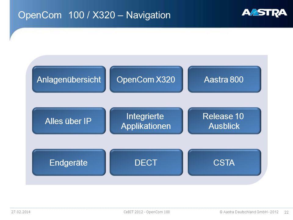 © Aastra Deutschland GmbH - 2012 22 OpenCom 100 / X320 – Navigation 27.02.2014 CeBIT 2012 - OpenCom 100 AnlagenübersichtOpenCom X320Aastra 800 Alles ü