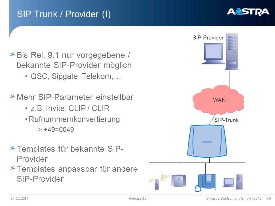 © Aastra Deutschland GmbH - 2012 25 27.02.2014Release 10 SIP Trunk / Provider (I) Bis Rel. 9.1 nur vorgegebene / bekannte SIP-Provider möglich QSC, Si