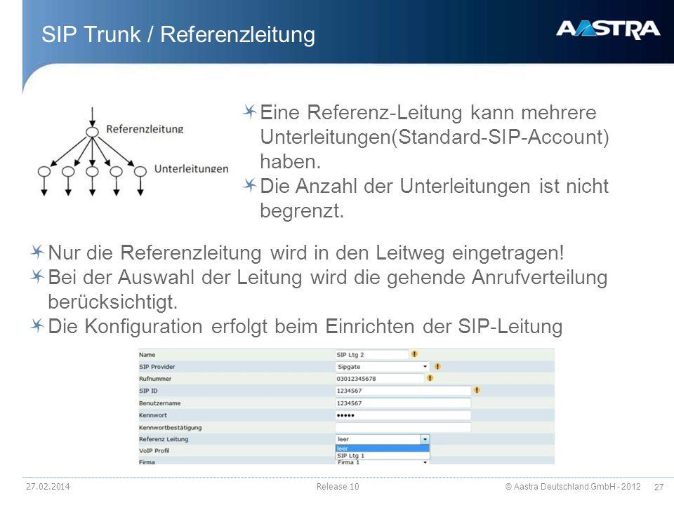 © Aastra Deutschland GmbH - 2012 27 SIP Trunk / Referenzleitung Release 10 Eine Referenz-Leitung kann mehrere Unterleitungen(Standard-SIP-Account) hab