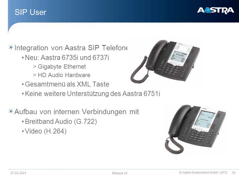 © Aastra Deutschland GmbH - 2012 30 SIP User Integration von Aastra SIP Telefonen Neu: Aastra 6735i und 6737i >Gigabyte Ethernet >HD Audio Hardware Ge